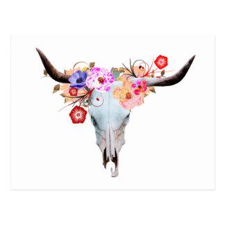 Carte Postale Crâne floral rustique de Boho Longhorn