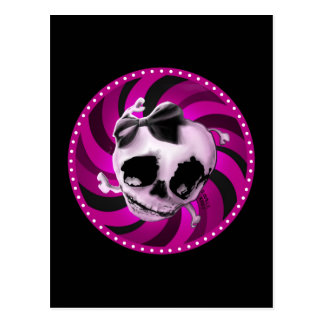 Carte Postale Crâne rose Girly avec l'arc noir