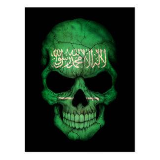 Carte Postale Crâne saoudien personnalisable de drapeau