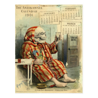 Carte Postale Crâne /Skeleton Illus. pharmaceutique vintage