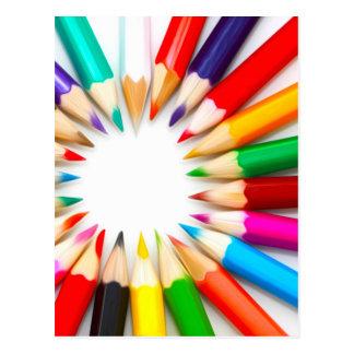 Carte Postale Crayons de couleur