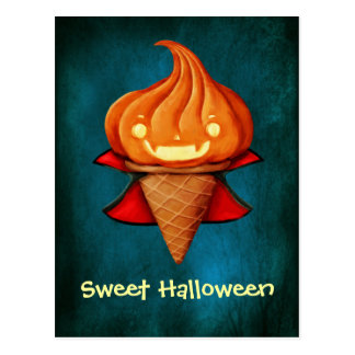 Carte Postale Crème glacée de citrouille de vampire de Halloween