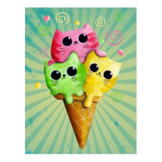 Carte Postale Crème glacée mignonne de chat de Kitty