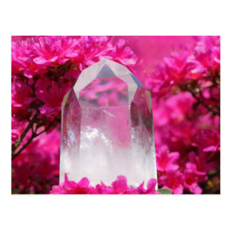 Carte Postale Cristal de quartz et fleurs roses