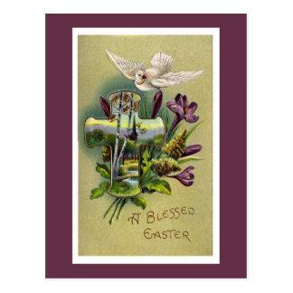 Carte postale croisée religieuse vintage de Pâques
