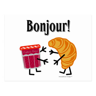 Carte Postale Croissant et confiture - Bonjour !
