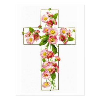 Carte Postale Croix blanche avec floral rose