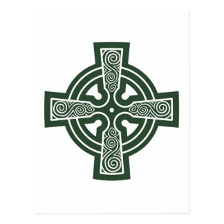 Carte Postale Croix celtique verte avec la gravure de Triskele