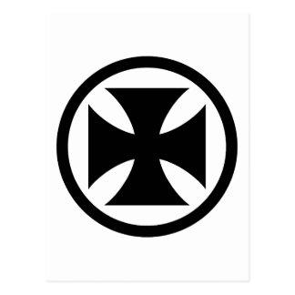 Carte Postale Croix dans le monochrome de cercle
