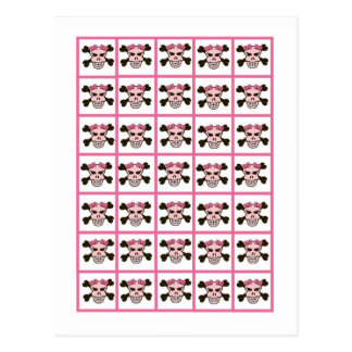 Carte Postale Croix de crâne de punk rock de rose de fille de