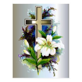 Carte Postale Croix d'or de Pâques et fleurs blanches de Lilly