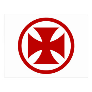 Carte Postale Croix en rouge de cercle