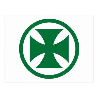 Carte Postale Croix en vert de cercle