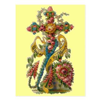 Carte Postale Croix florale vintage de condoléance