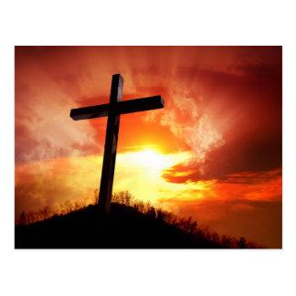 Carte Postale Croix religieuse de Pâques au coucher du soleil