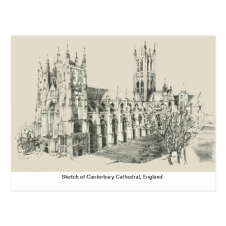 Carte Postale Croquis de cathédrale de Cantorbéry, Angleterre