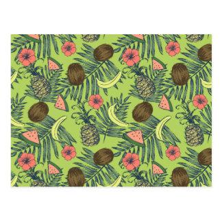 Carte Postale Croquis de fruit tropical sur le motif vert