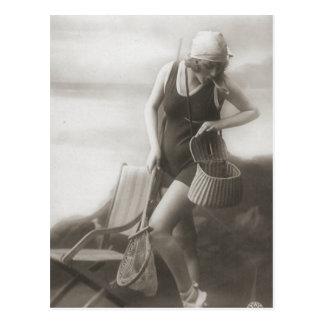 Carte Postale Cru baignant des portraits de fille d'aileron de