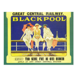Carte Postale Cru, Blackpool, Angleterre, affiche ferroviaire