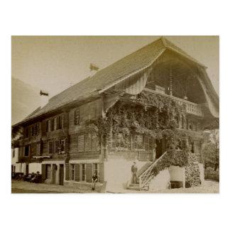 Carte Postale Cru, chalet suisse à Interlaken, 1890