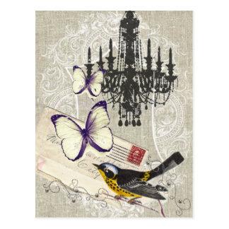 Carte Postale Cru moderne d'oiseau de papillon de lustre de