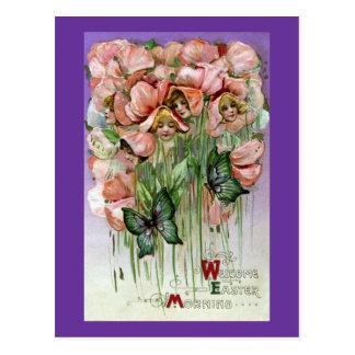 Carte Postale Cru Pâques de pois doux et de papillons