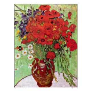 Carte Postale Cru rouge de pavots et de marguerites de Van Gogh