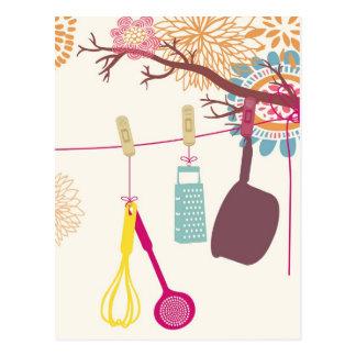Carte Postale cuisine toscane - ustensiles sur floral