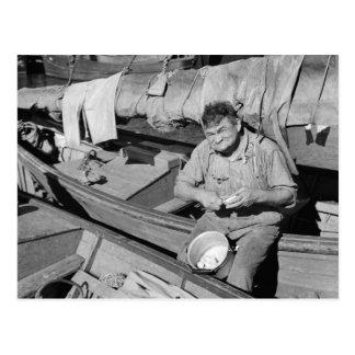 Carte Postale Cuisinier de bateau de pêche - Noël 1938