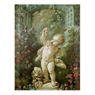 Carte Postale Cupidon avec des raisins