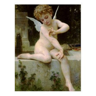 Carte Postale Cupidon avec un papillon par William Bouguereau