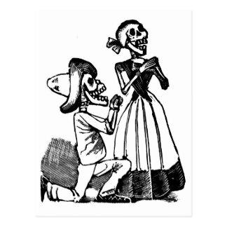 Carte Postale Cupidon Calavera, les années 1900 squelettiques