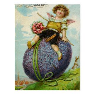 Carte Postale Cupidon magnifique sur l'oeuf de pâques