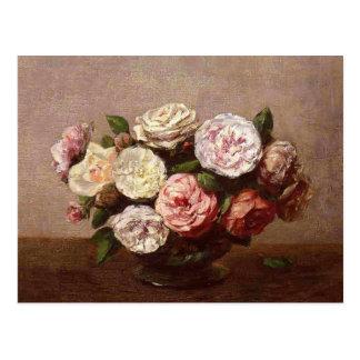 Carte Postale Cuvette de Henri Fantin-Latour- de roses