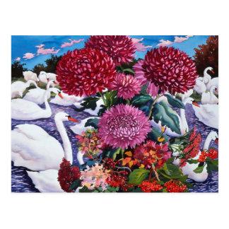Carte Postale Cygnes et chrysanthèmes 2005