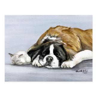 Carte postale d art de chien de St Bernard et de c