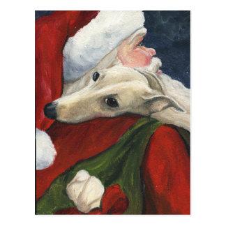 Carte postale d art de lévrier et de chien de Père