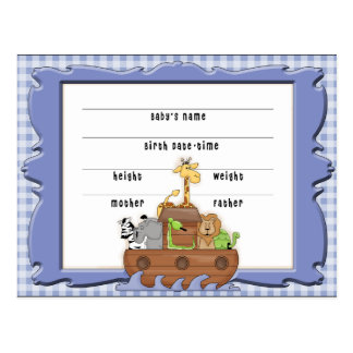 Carte postale d'acte de naissance de garçon de