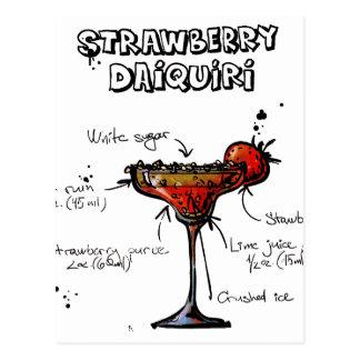 Carte Postale Daiquiri de Strawbeery de recette de cocktail