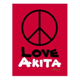 Carte postale d'Akita d'amour de paix