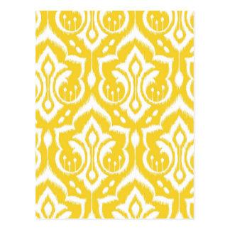 Carte Postale Damassé d'Ikat - jaune de soleil