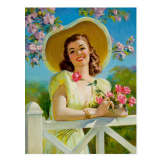 Carte Postale Dame dans les Yellow