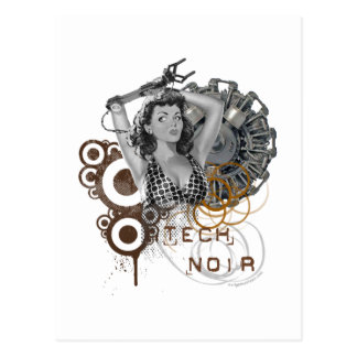 Carte Postale Dame noir de steampunk de pulpe de technologie