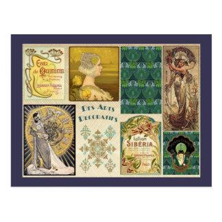 Carte Postale Dames vintages d'art déco
