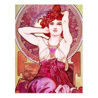 Carte postale d'améthyste d'Alphonse Mucha