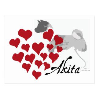 Carte postale d'amour d'Akita