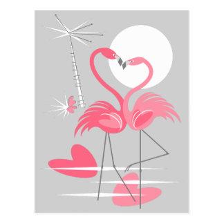 Carte postale d'amour de flamant