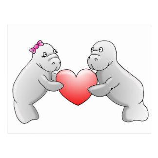 Carte postale d'amour de lamantin
