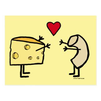 Carte postale d'amour de macaronis au fromage