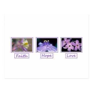 Carte postale d'amour d'espoir de foi